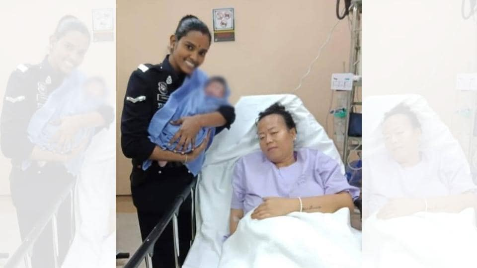 A policewoman in Malaysia went above and beyond her scope of duty to help a woman in need.