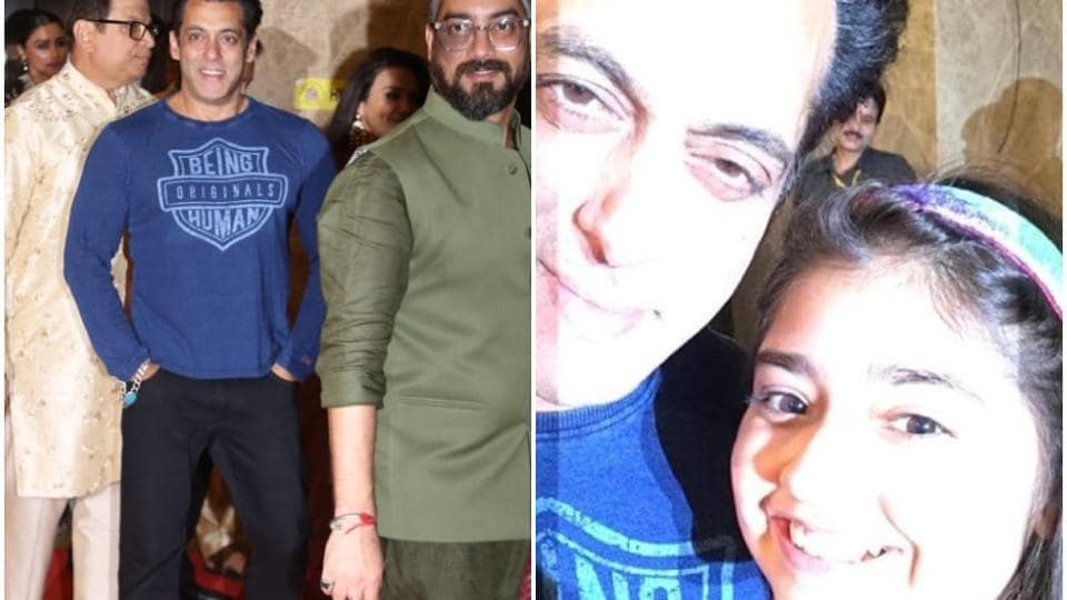 Salman Khan poses with a young fan.