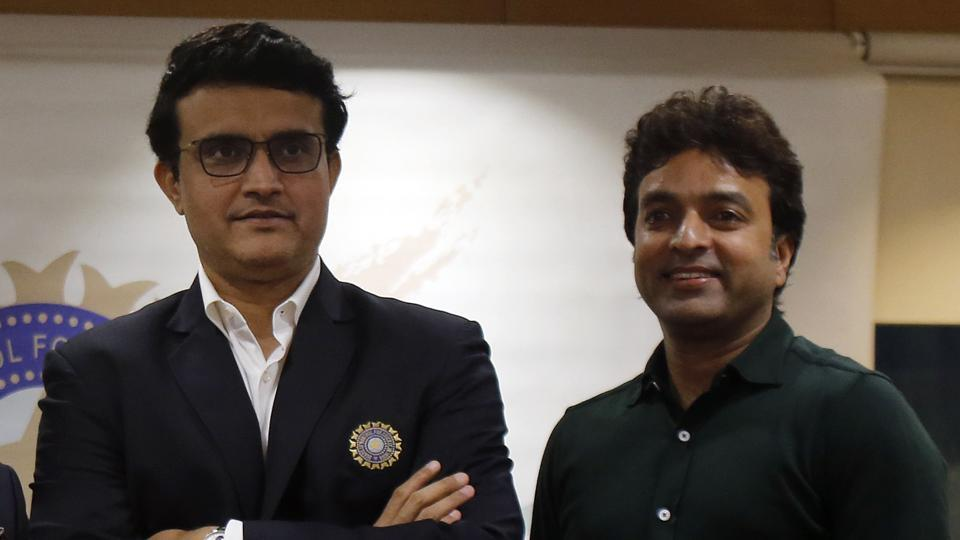 Newly-elected President of the Board of Control for Cricket in India (BCCI) Sourav Ganguly and Treasurer Arun Dhumal stand for a photograph.