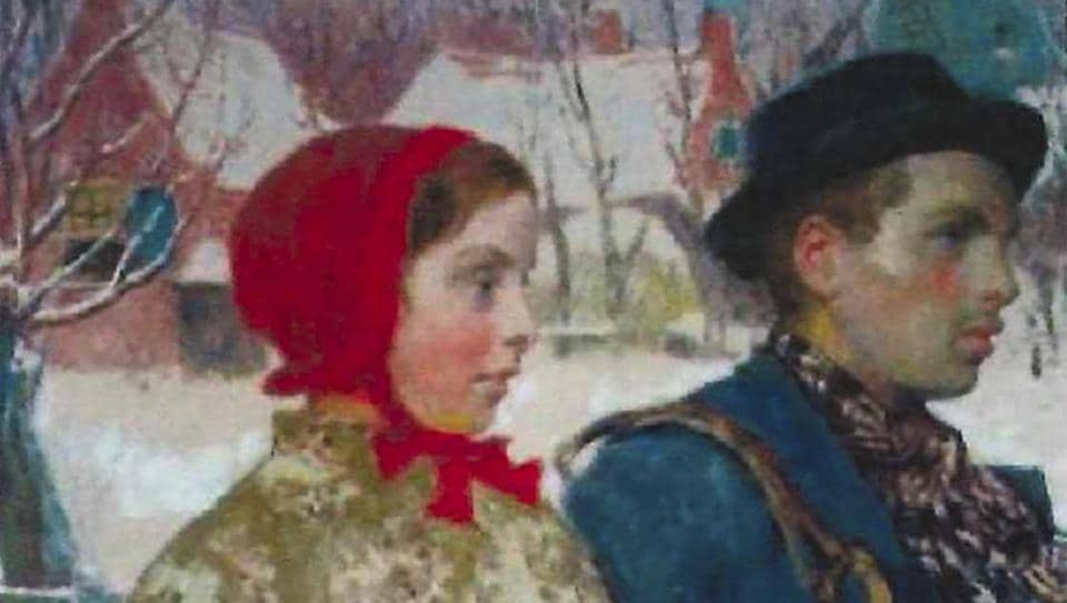 """This undated image taken from evidence filed in a forfeiture case in the U.S. District Court for the Northern District of New York, is of the painting often entitled """"Winter"""" by the artist Gari Melchers. The painting, stolen by the Nazis in 1933, was recovered by the FBI from a collection at the Arkell Museum in Canajoharie, N.Y. (US Attorney's Office via AP)"""