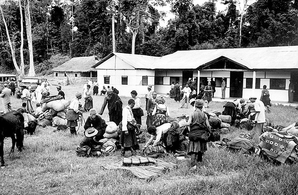 Tibetan refugees at Missamari Camp in May 1959. Freda Bedi coordinated India's measures to help the refugees.