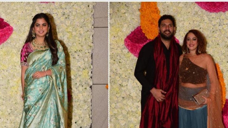 Isha Ambani and Yuvraj Singh with Hazel Keech at the Ambani Diwali party.