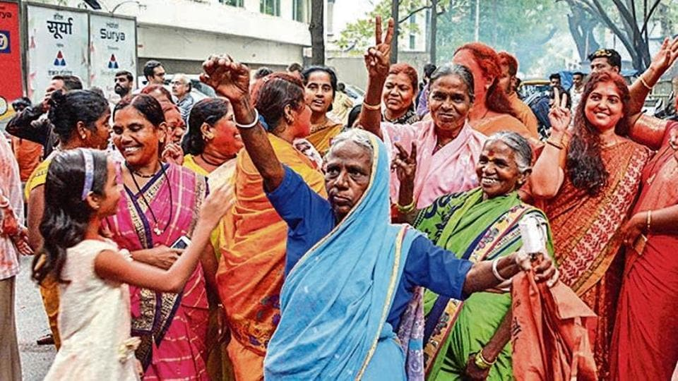 BJPworkers celebrate party's win in Maharashtra assembly elections on Thursday.