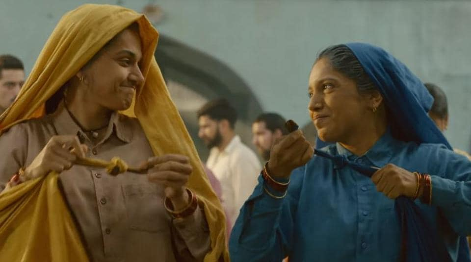 Taapsee Pannu and Bhumi Pednekar in a still from Saand Ki Aankh.