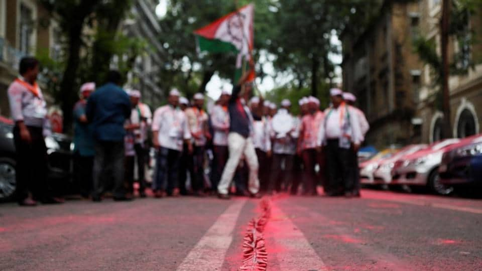 A line of firecrackers is seen outside the Nationalist Congress Party (NCP) office after announcement of initial poll results in Mumbai.