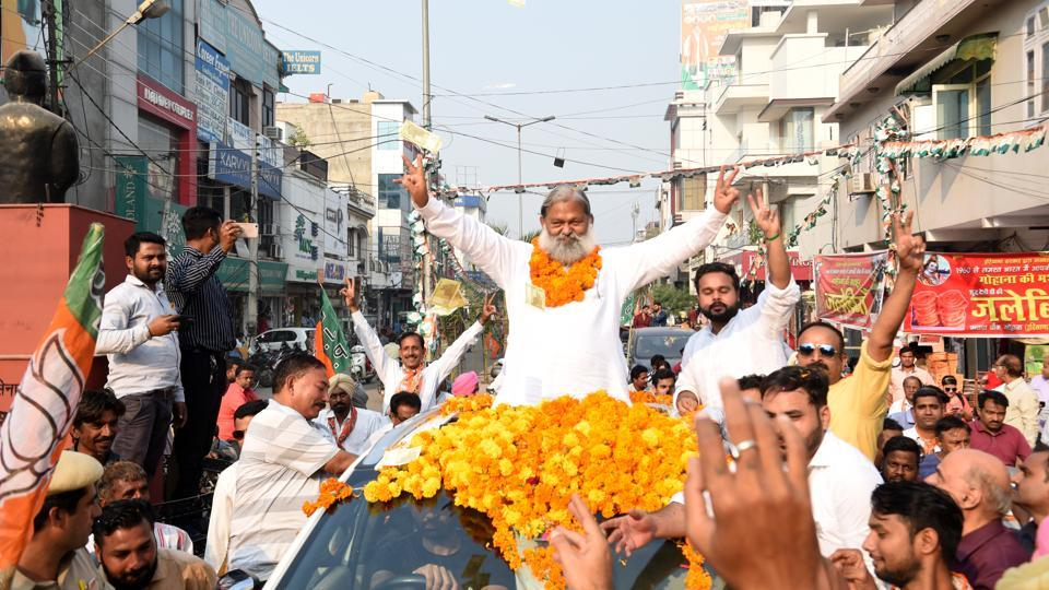 BJP leader celebrating his third consecutive victory from Ambala Cantt seat.