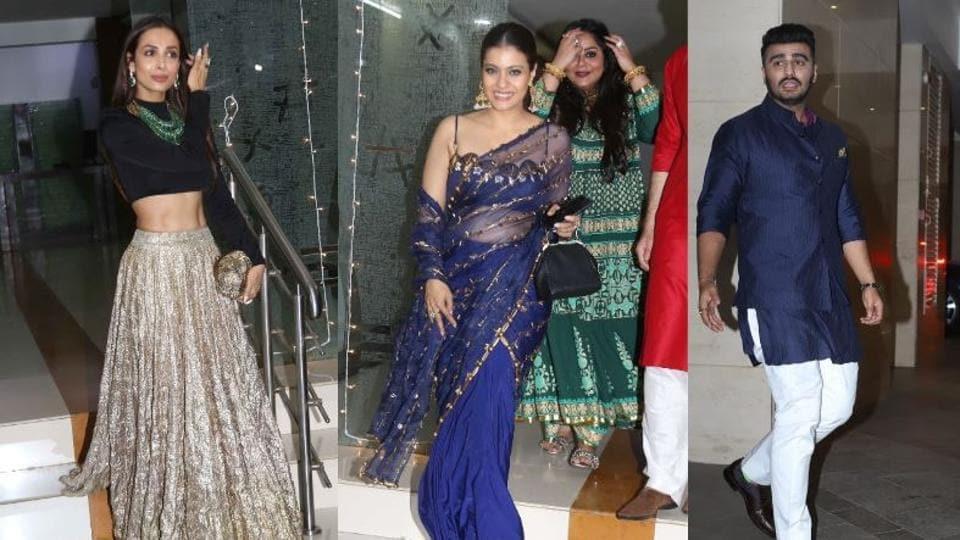 Malaika Arora and Kajol at Mallika Bhat's Diwali party and Arjun Kapoor at Jackky Bhagnani's bash in Mumbai on Friday.