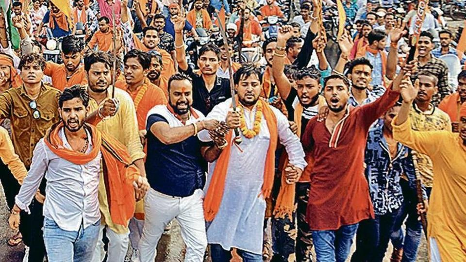 Member of different Hindu organisations demonstrating during a march in protest of recent murder of Hindu Samaj party chief Kamlesh Tiwari in Uttar Pradesh in Jamshedpur on Sunday.