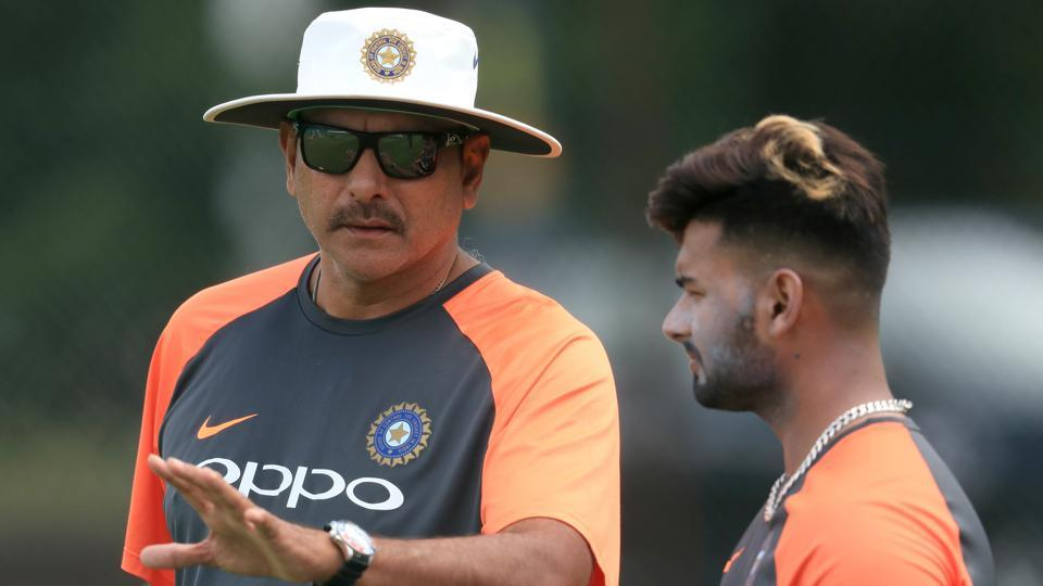 India head coach Ravi Shastri (left) and Rishabh Pant during a nets session.