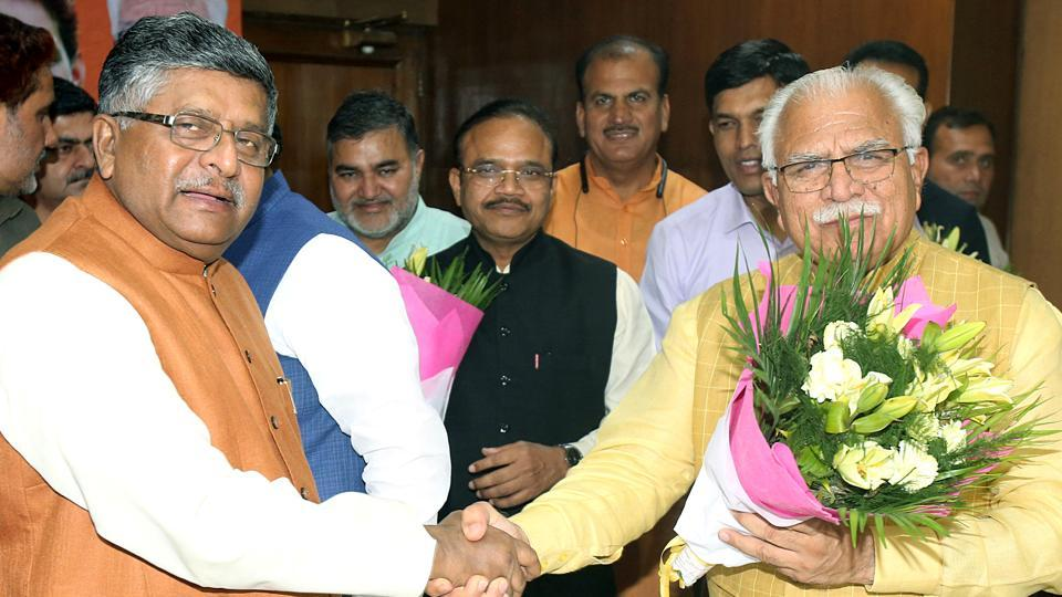 Haryana Chief Minister Manohar Lal Khattar being congratulated by Union Minister Ravi Shankar Prasad, after he has been elected BJP's legislative party leader, in Chandigarh on Saturday.