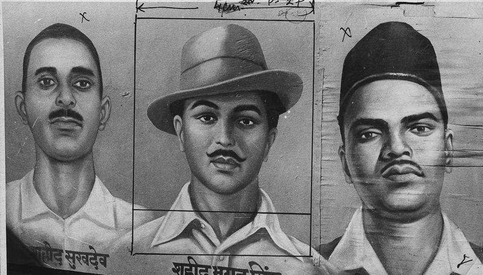 Indian Freedom Fighter Bhagat Singh, Shivaram Rajguru, Sukhdev Thapar - .
