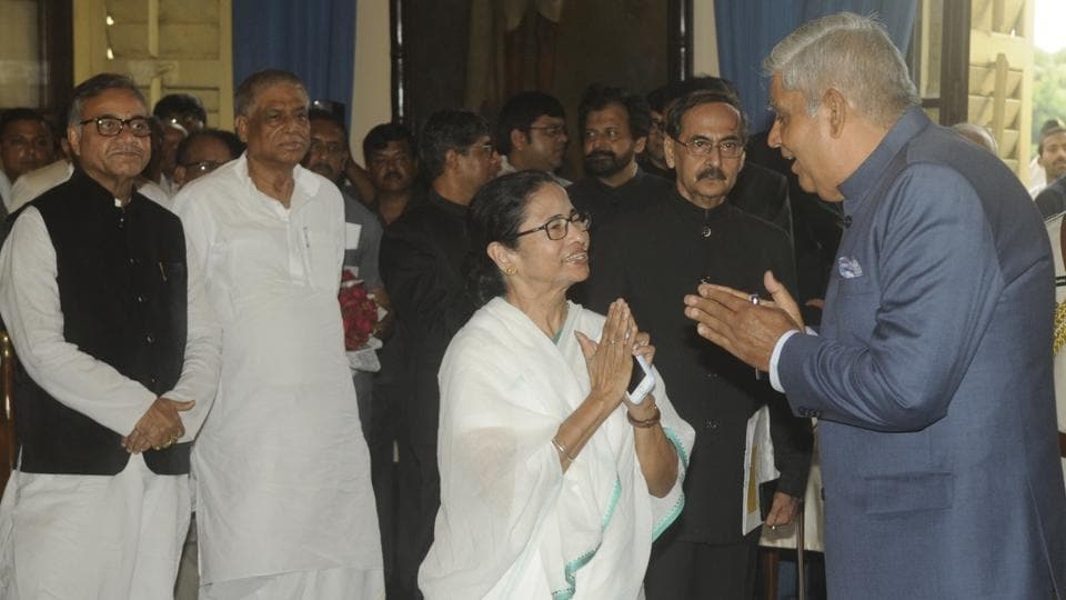 Bengal CM has invited the bengal governor to attend the Kali Puja ceremony at her residence. In this picture, Chief Minister of West Bengal Mamata Banerjee greets Jagdeep Dhankhar during his swearing in ceremony as new Governor of West Bengal, at Raj Bhavan, in Kolkata.
