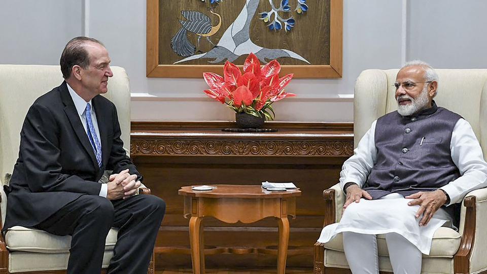 Prime Minister Narendra Modi with World Bank President David Malpass in New Delhi.