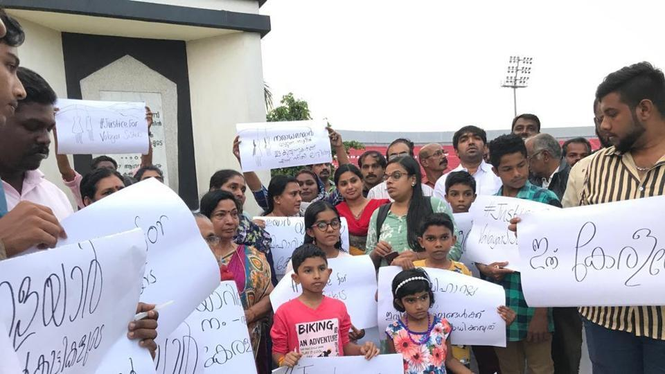 Children take out a protest inThiruvananthapuram seeking justice for two minor girls.