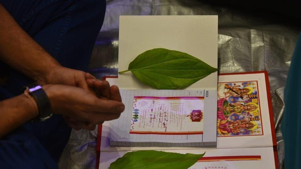 "Traders offerings prayer to Book of Account also now as ""CHOPDA PUJA"" during the Laxmi puja in Diwali at Swami Narayan mandir at Dadar east in Mumbai."