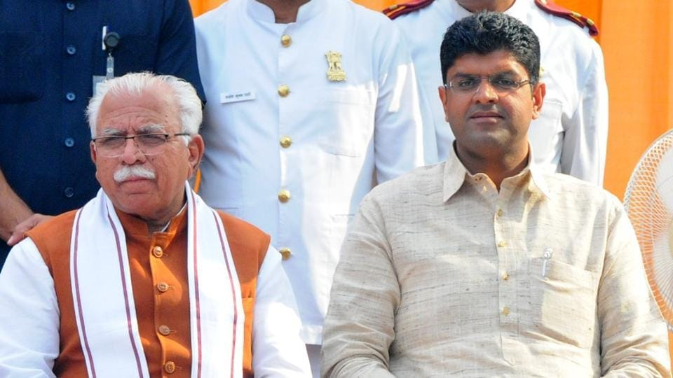 Manohar Lal Khattar was sworn in as Haryana's chief minister for the second term on Sunday and Dushyant Chautala was sworn in as his deputy.