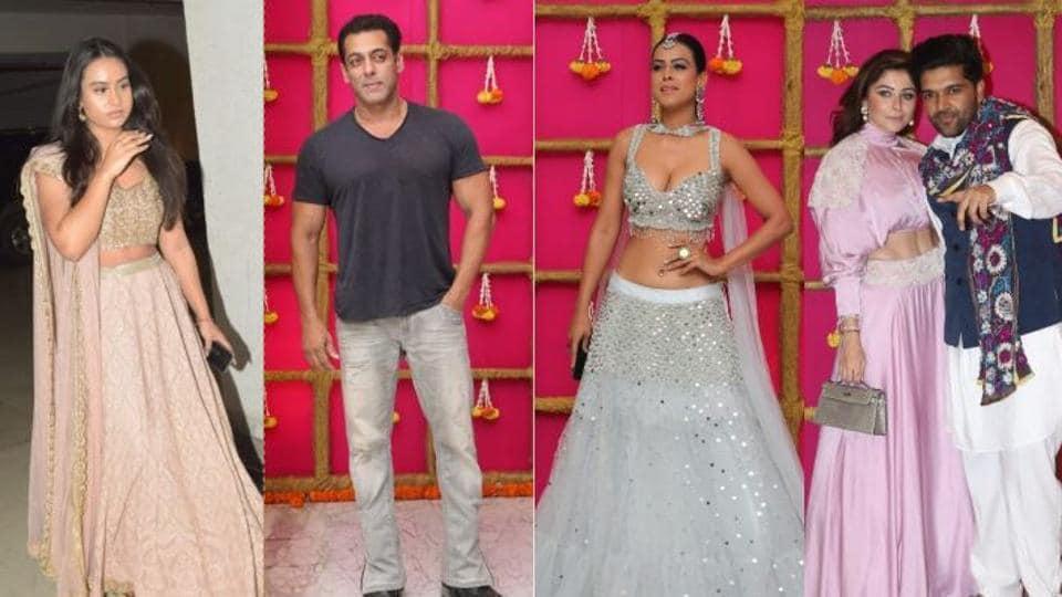 Nysa Devgn, Salman Khan, Nia Sharma, Kanika Kapoor and Guru Randhawa at Krishan Kumar's Diwali bash.