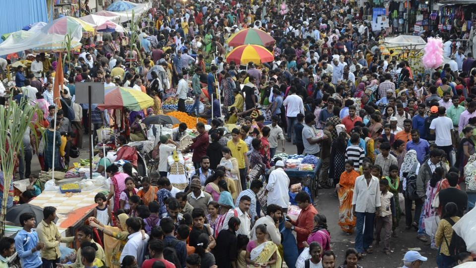 Residents throng Chinchwad market, on Saturday, for last-minute Diwali shopping ahead of Laxmi Puja on Sunday.