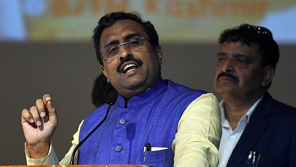 Ram Madhav on Saturday said security forces are fully geared to foil Pakistan's design to create trouble in Kashmir (ANI Photo)
