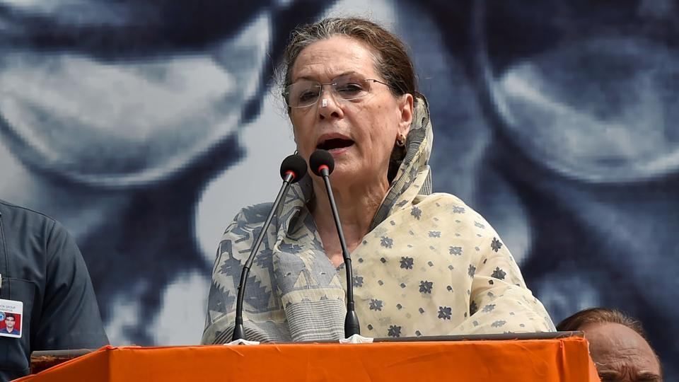Sonia Gandhi hit out at the central government for not fulfilling its promise of giving a 50% return on their input costs to famers