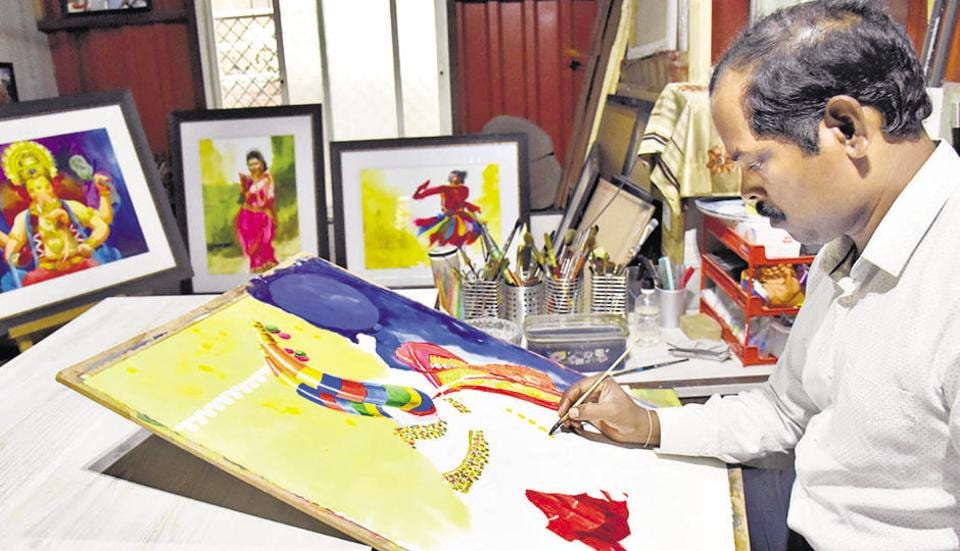 Mohan Jadhav painter artist cum cricket coach at his galley at Park View Apartment in Tingrenagar