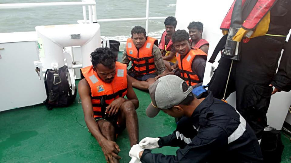 Indian Coast Guards after rescuing people as cyclone 'Kyarr' hits the western coast, in Mangaluru on Saturday.