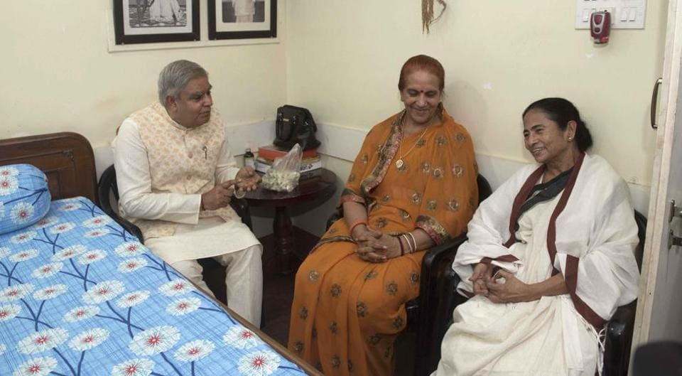 West Bengal Governor Jagdeep Dhankhar with wife Sudesh Dhankhar are attending Kali puja at Chief Minister Mamata Banerjee's Kalighat house on Sunday, October 27, 2019.