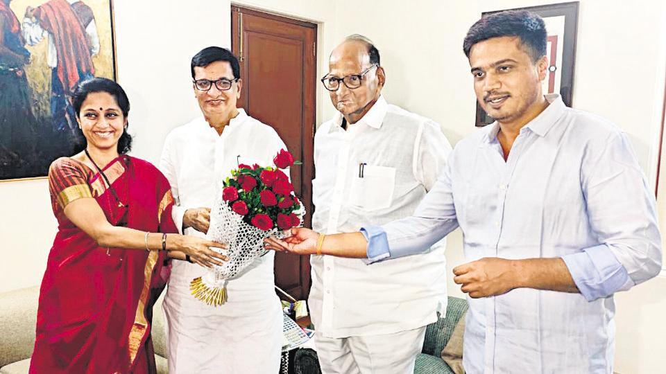 (From left) Supriya Sule, NCP leader; Balasaheb Thorat, Congress party's state unit president; Sharad Pawar, NCP chief; Rohit Pawar, newly-elected MLA from Karjat-Jamkhed, in Baramati on Saturday.