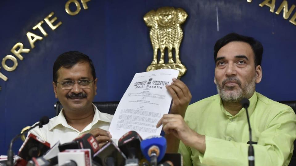 Delhi chief minister Arvind Kejriwal and labour minister Gopal Rai address at a press conference on Monday.