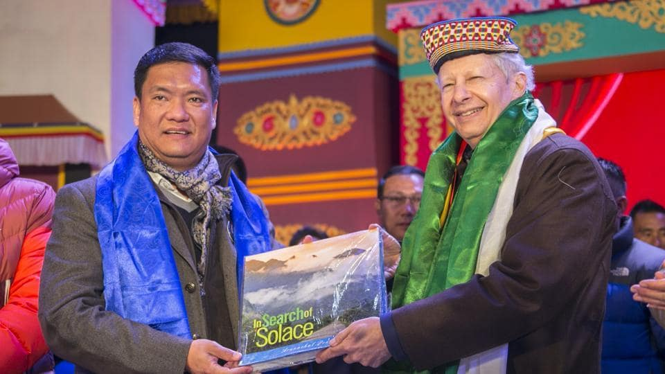 US Ambassador to India Kenneth Ian Juster (right) and Arunchal Pradesh Chief Minister Pema Khandu at the Tawang Festival on Monday.