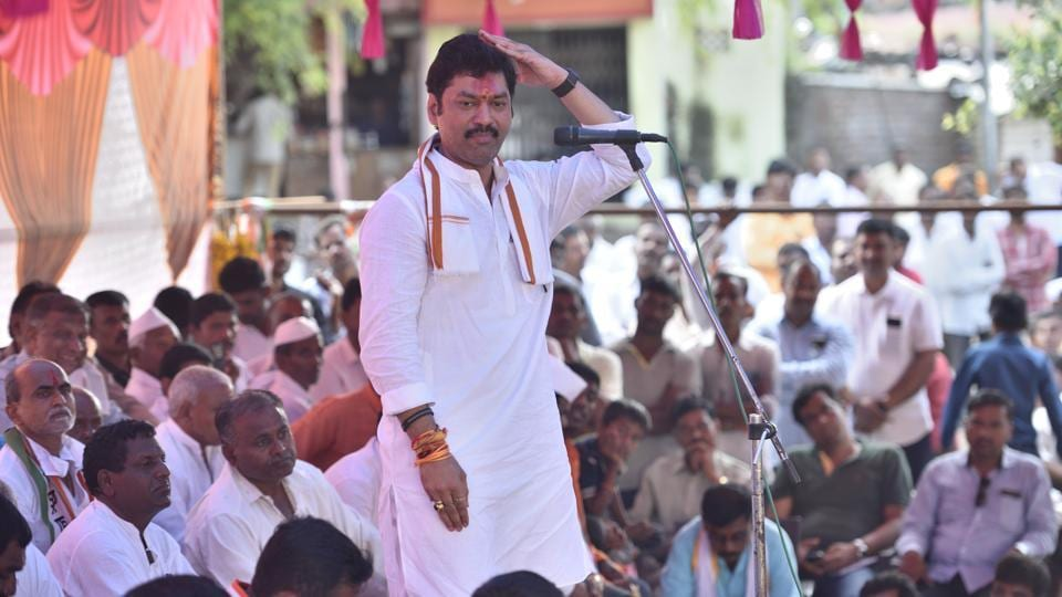 National Congress Party (NCP ) candidate Dhananjay Munde address a campaign rally at Pattivadgaon village in Beed,  Maharashtra.