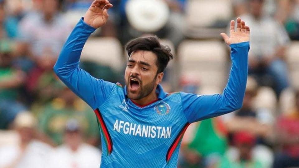 Afghanistan's Rashid Khan reacts.