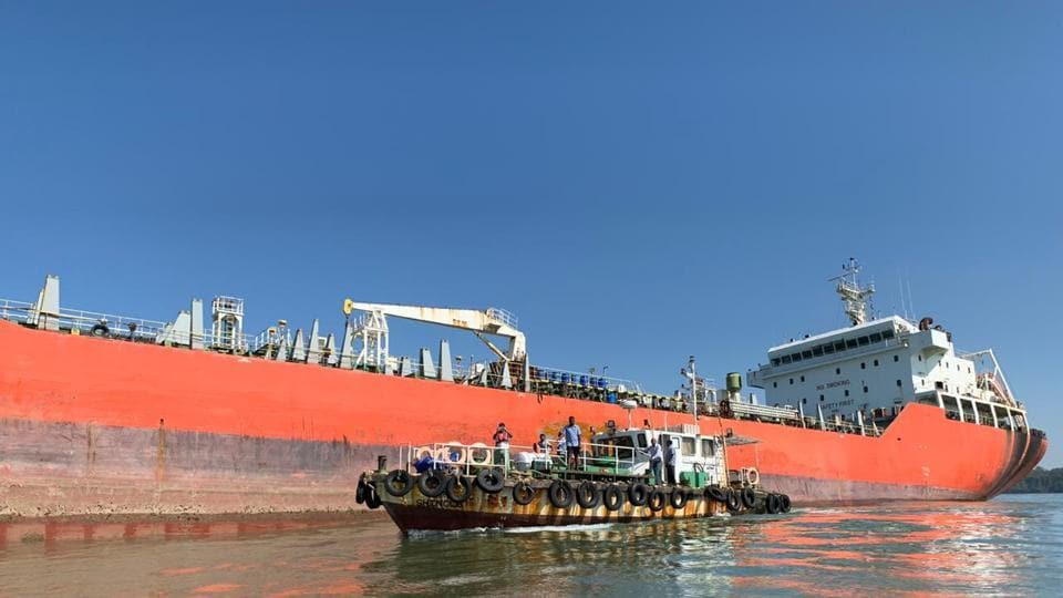 The 11,000 tonne chemical tanker Nu Shi Nalini remains stranded off Goa's Dona Paula bay.
