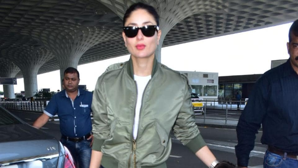 Kareena Kapoor with son Taimur spotted at the airport.