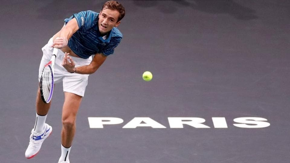 Russia's Daniil Medvedev in action during his second round match against France's Jeremy Chardy.