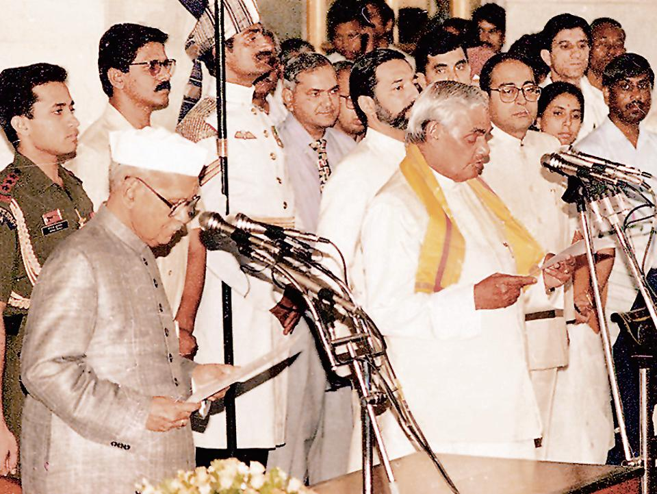 Atal Bihari Vajpayee being sworn in by president Shankar Dayal Sharma on 16 May 1996. The government lasted 13 days.