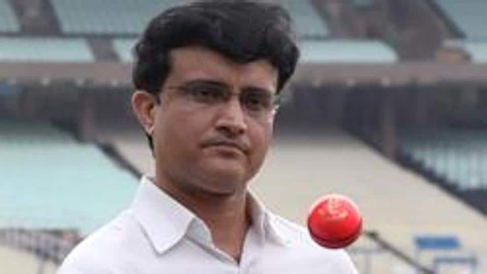 File image of BCCI president Sourav Ganguly playing with pink ball at Eden Gardens.