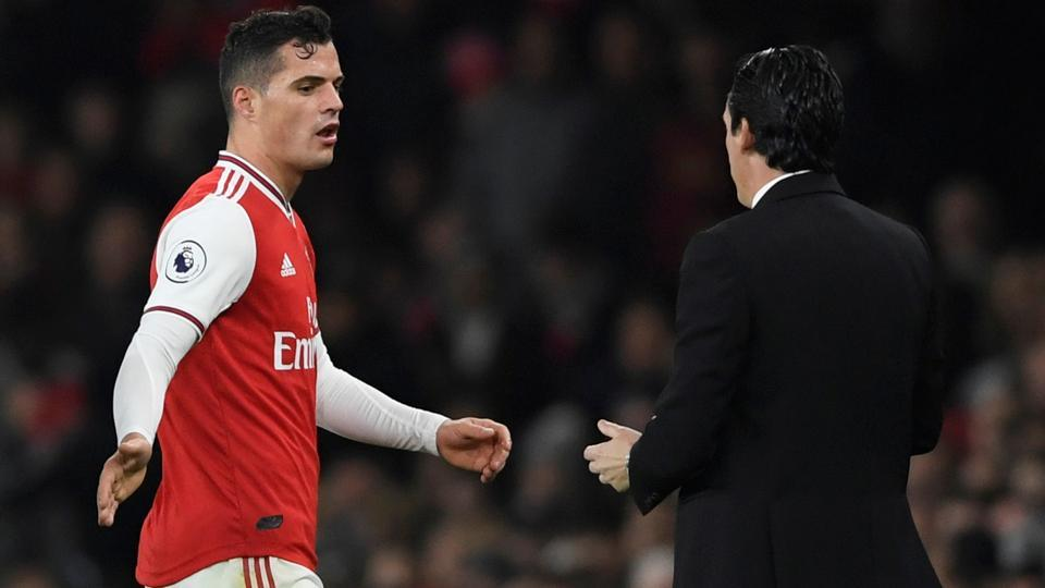 Arsenal's Granit Xhaka reacts after being substituted.