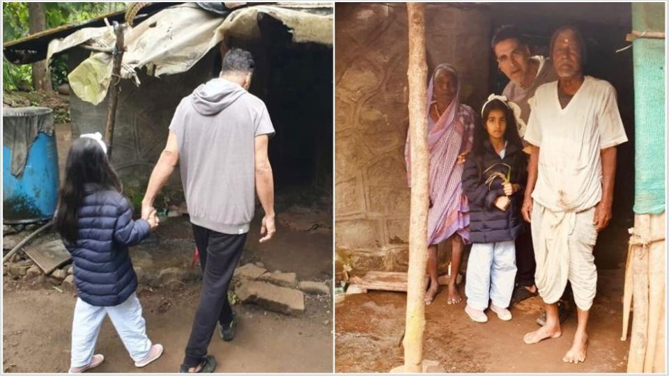 Akshay Kumar and his daughter with an elderly Maharashtrian couple.
