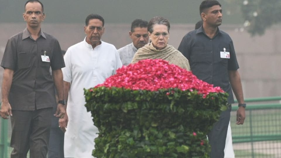 Congress interim president Sonia Gandhi paid tribute to former prime minister Indira Gandhi on the occasion of her death anniversary , at Shakti Sthal, New Delhi, October 31, 2019.
