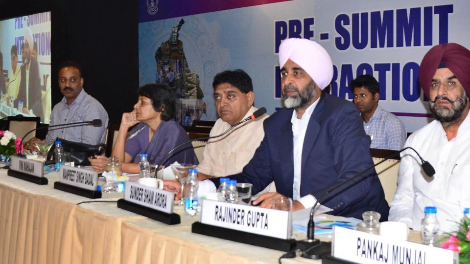 Finance minister Manpreet Singh Badal (2nd from right) and minister of industries and commerce Sunder Sham Arora (centre) during an interaction in Ludhiana on Thursday.