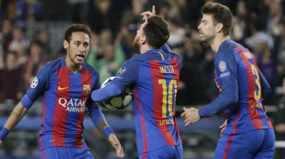 File image of Neymar celebrating a goal with Lionel Messi and Gerard Pique (L-R).