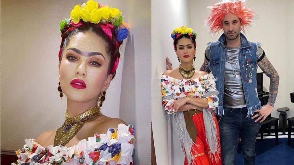 Sunny Leone turned up as Frida Kahlo for the Halloween celebrations on Thursday.