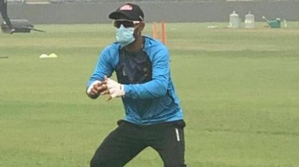 Bangladesh cricketer Liton Das wears a mask in New Delhi on Thursday