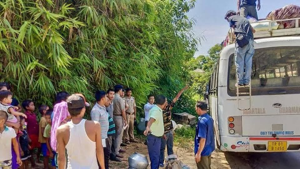 The Brus blocked the road between Dasda and Anandabazar in Kanchanpur in Tripura's North district from 5am and continued till 5pm.