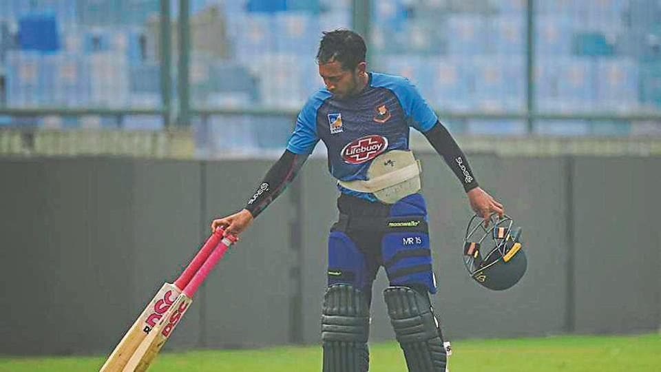Bangladesh's Mushfiqur Rahim during a practice session ahead of their first T20 international match against India, at Arun Jaitley Cricket Stadium, in New Delhi on Thursday.