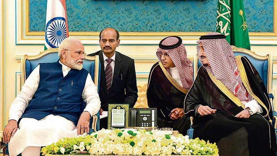 Prime Minister Narendra Modi meets Saudi Arabia's King Salman bin Abdulaziz Al Saud in Riyadh on October 30.