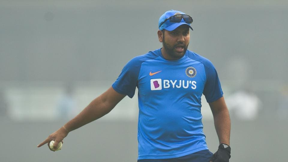 India's Rohit Sharma takes part in a practice session at Arun Jaitley Cricket Stadium.