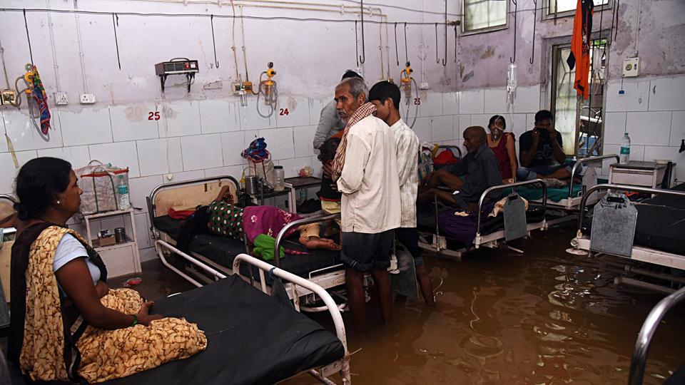A ward being submerged after heavy rain, at Nalanda Medical College and Hospital (NMCH), in Patna in September.