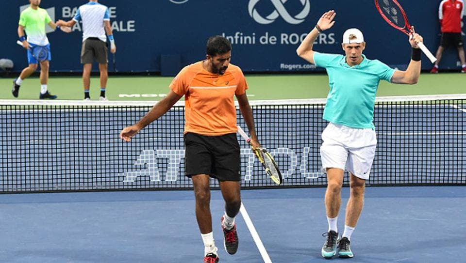 Rohan Bopanna of India and Denis Shapovalov of Canada during the Rogers Cup.